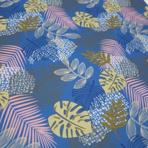 TKANINA WODOODPORNA Jungle leaves - Blue