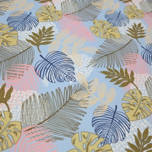 TKANINA WODOODPORNA Jungle leaves - Sky Blue